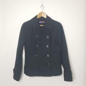 Smart Set   Black Double Breasted Pea Coat Jacket